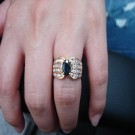 台中流當品拍賣 流當寶石 1克拉多 豪華台 天然變色藍寶石鑽戒 ZK047